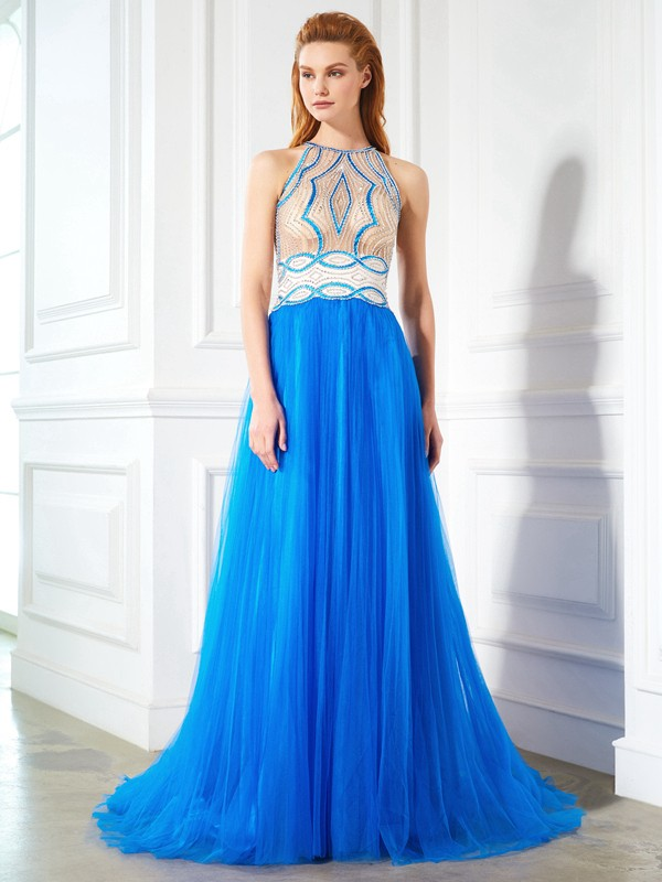 A-Line/Princess Jewel Beading Sleeveless Floor-Length Net Dresses