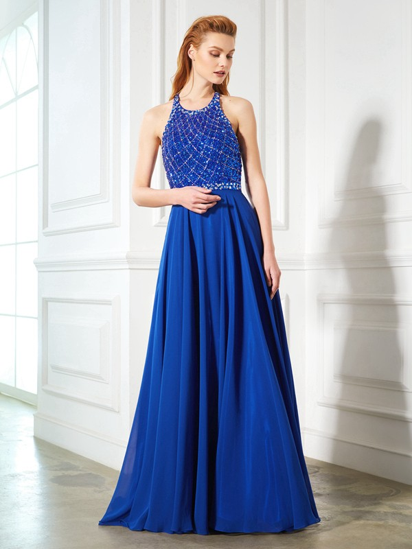 A-Line/Princess Jewel Sleeveless Beading Chiffon Sweep/Brush Train Dresses