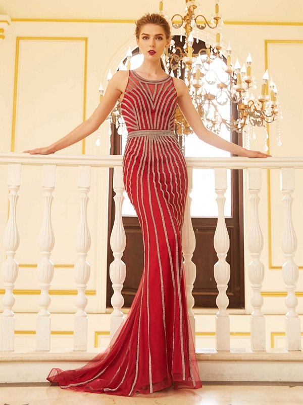 Sheath/Column Scoop Beading Sleeveless Net Sweep/Brush Train Dresses