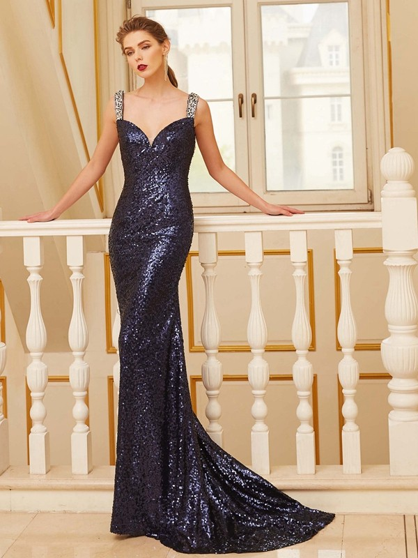 Sheath/Column V-neck Sleeveless Sweep/Brush Train Beading Sequins Dresses