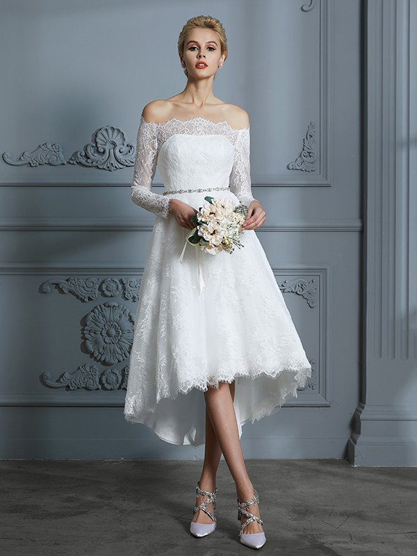 A-Line/Princess Long Sleeves Off-the-Shoulder Asymmetrical Lace Wedding Dresses