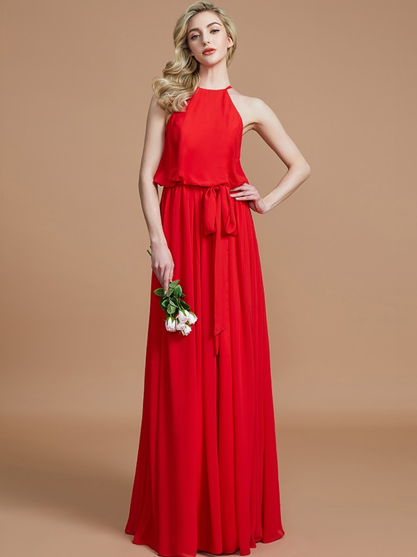 A-Line Halter Sleeveless Sash/Ribbon/Belt Floor-Length Chiffon Bridesmaid Dresses