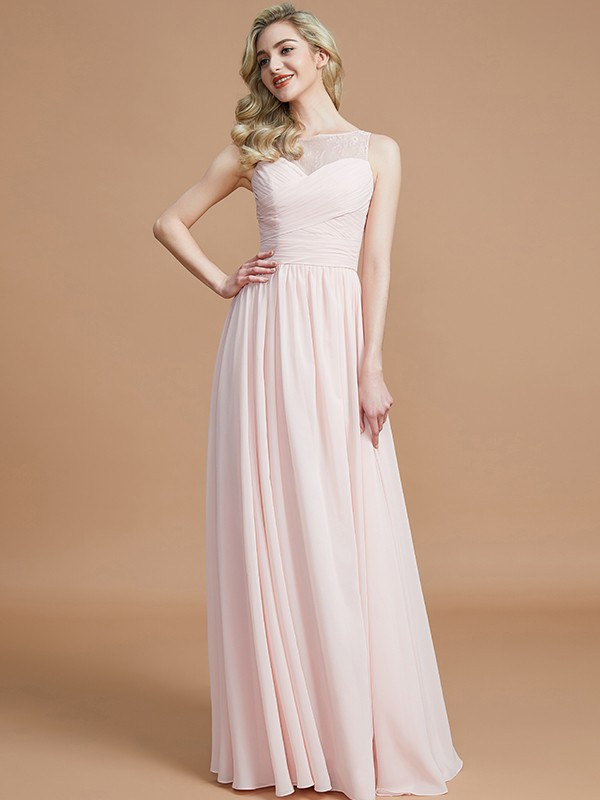 A-Line Bateau Sleeveless Ruched Floor-Length Chiffon Bridesmaid Dresses