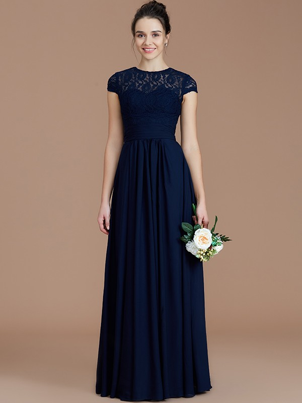 A-Line Jewel Short Sleeves Lace Floor-Length Chiffon Bridesmaid Dresses