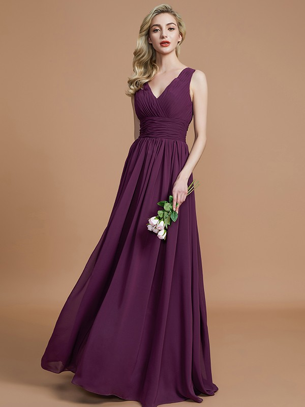 A-Line Sleeveless V-neck Floor-Length Chiffon Bridesmaid Dresses