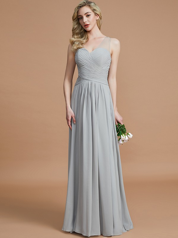A-Line V-neck Chiffon Floor-Length Sleeveless Bridesmaid Dresses