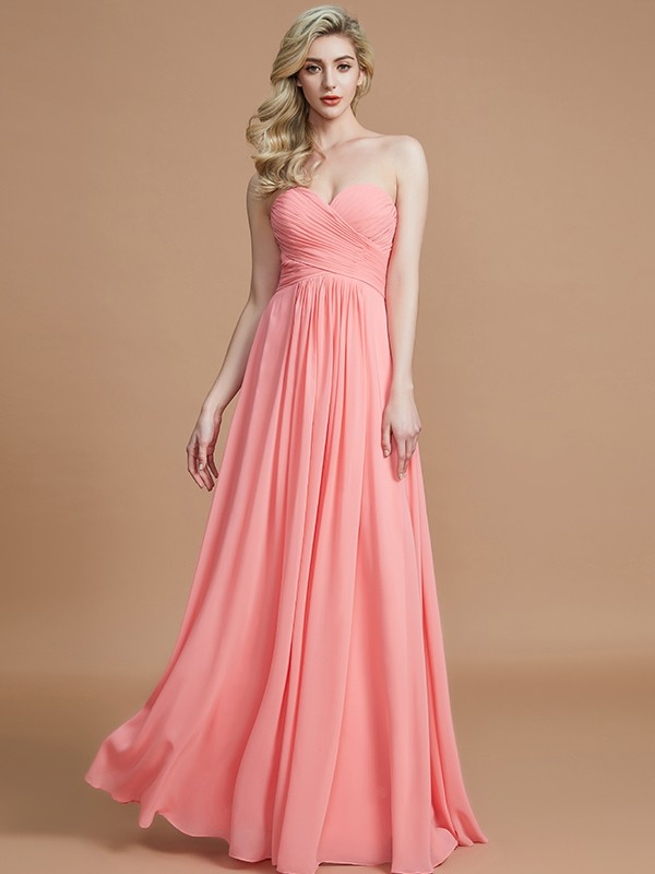 A-Line Sweetheart Sleeveless Floor-Length Chiffon Bridesmaid Dresses
