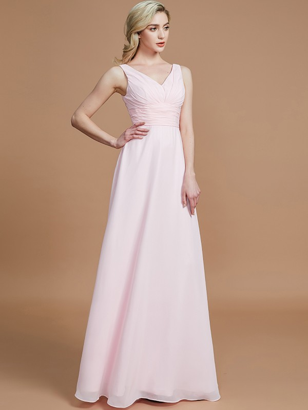 A-Line Sleeveless Floor-Length Chiffon V-neck Bridesmaid Dresses