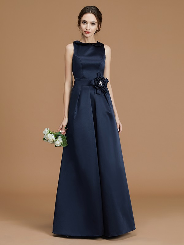 A-Line Bateau Sleeveless Floor-Length Satin Bridesmaid Dress