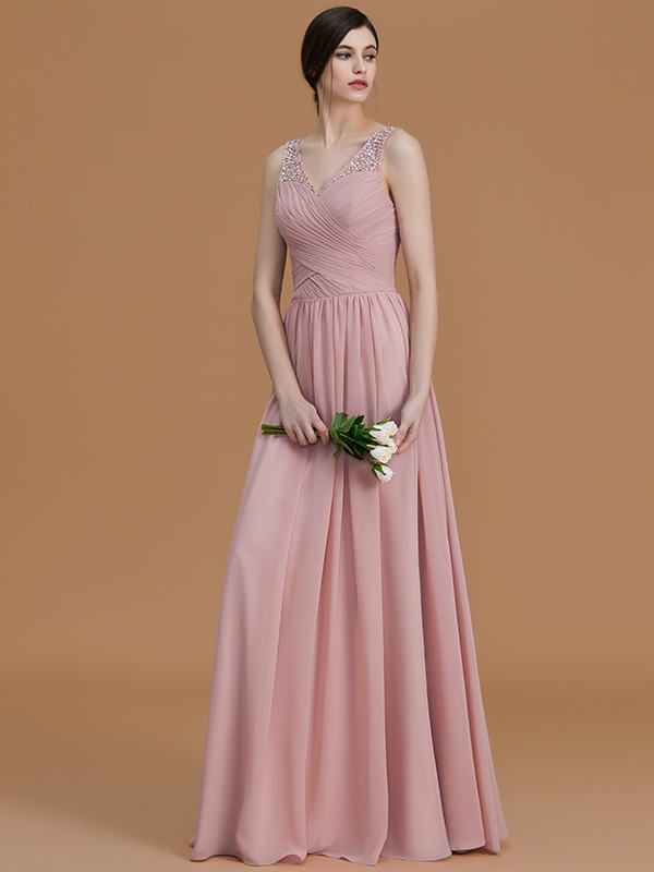 A-Line/Princess V-neck Sleeveless Floor-Length Beading Chiffon Bridesmaid Dresses