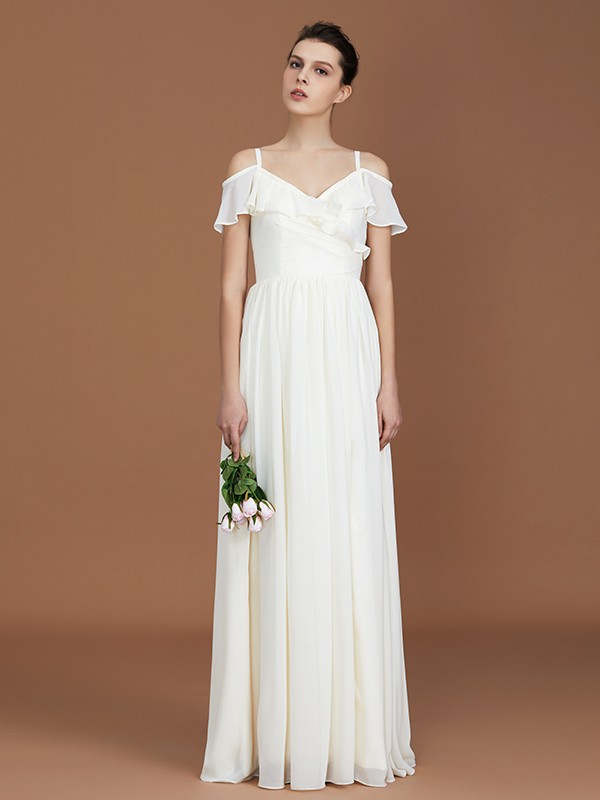 A-Line Short Sleeves Spaghetti Straps V-neck Floor-Length Chiffon Bridesmaid Dress
