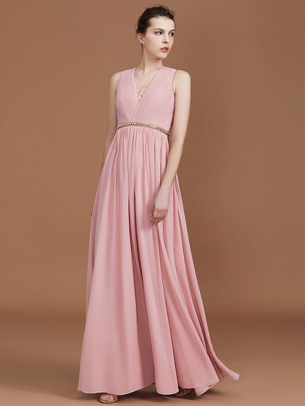 A-Line Lace Sleeveless Floor-Length Chiffon V-neck Bridesmaid Dress