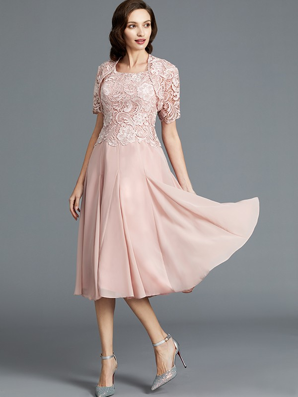 A-Line Sleeveless Scoop Tea-Length Chiffon Mother of the Bride Dresses