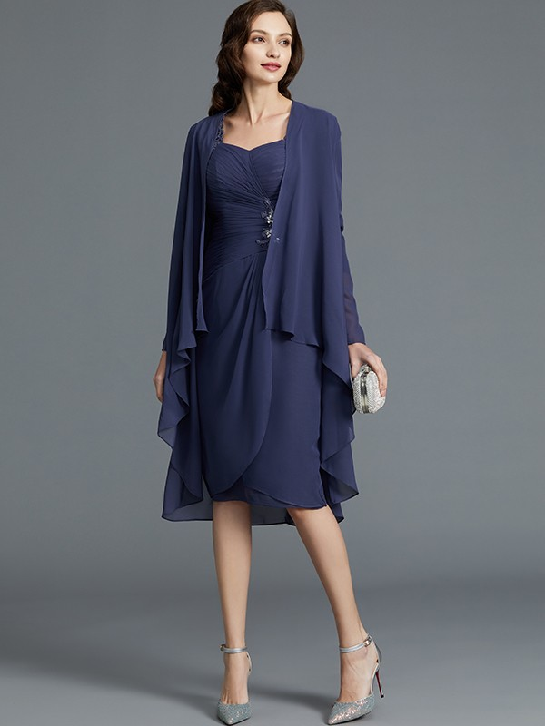 Sheath Sweetheart Chiffon 1/2 Sleeves Knee-Length Mother of the Bride Dresses