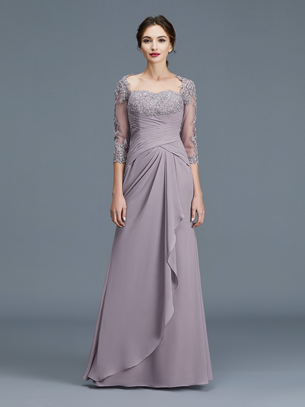 Sheath/Column 3/4 Sleeves Sweetheart Ruffles Chiffon Floor-Length Mother of the Bride Dresses