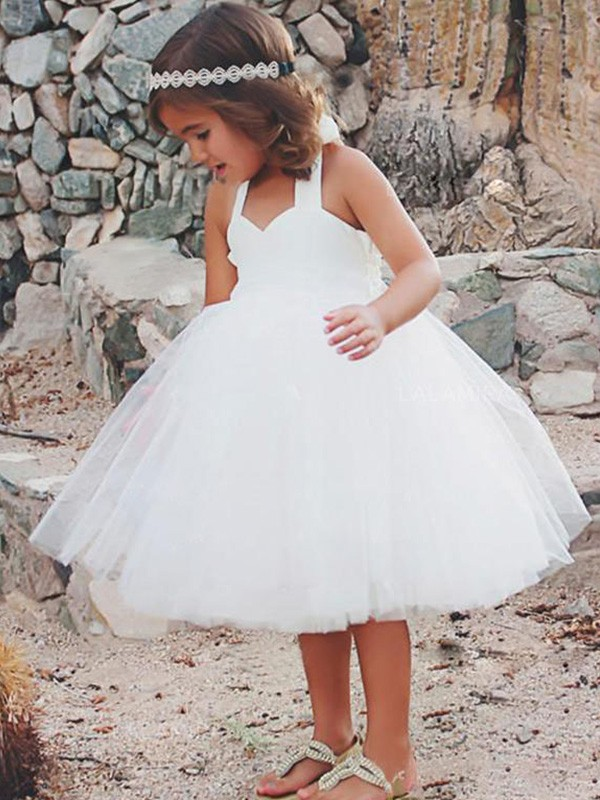 A-Line Sleeveless Halter Tea-Length Ruffles Tulle Flower Girl Dresses