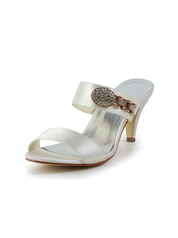 Women's Attractive Satin Peep Toe Cone Heel With Rhinestone Ivory Sandal Shoes