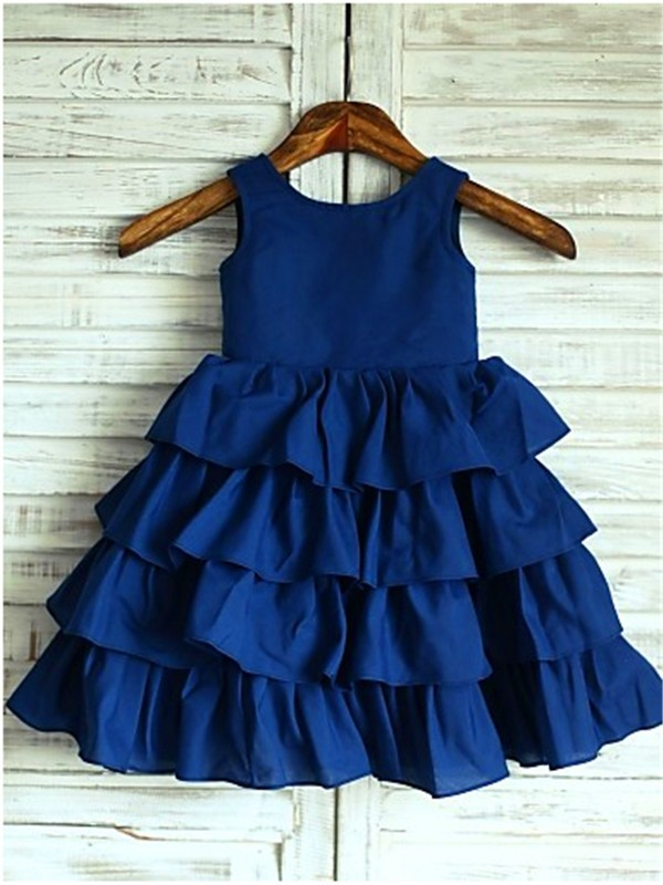 A-line Sleeveless Scoop Layers Tea-Length Chiffon Flower Girl Dress