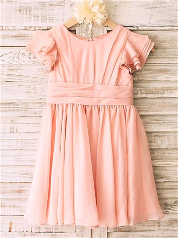 Princess Scoop Tea-Length Chiffon Flower Girl Dress