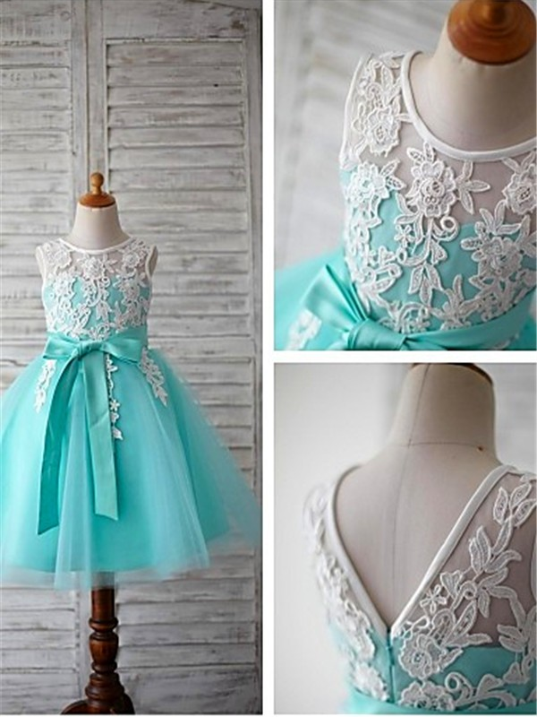 Ball Gown Scoop Sleeveless Knee-Length Tulle Flower Girl Dress
