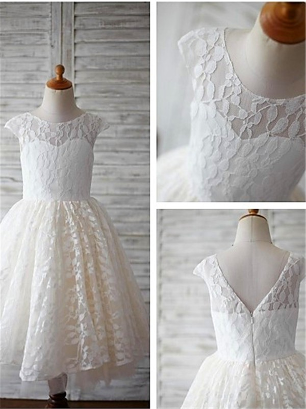 A-line Scoop Short Sleeves Ankle-length Lace Flower Girl Dress