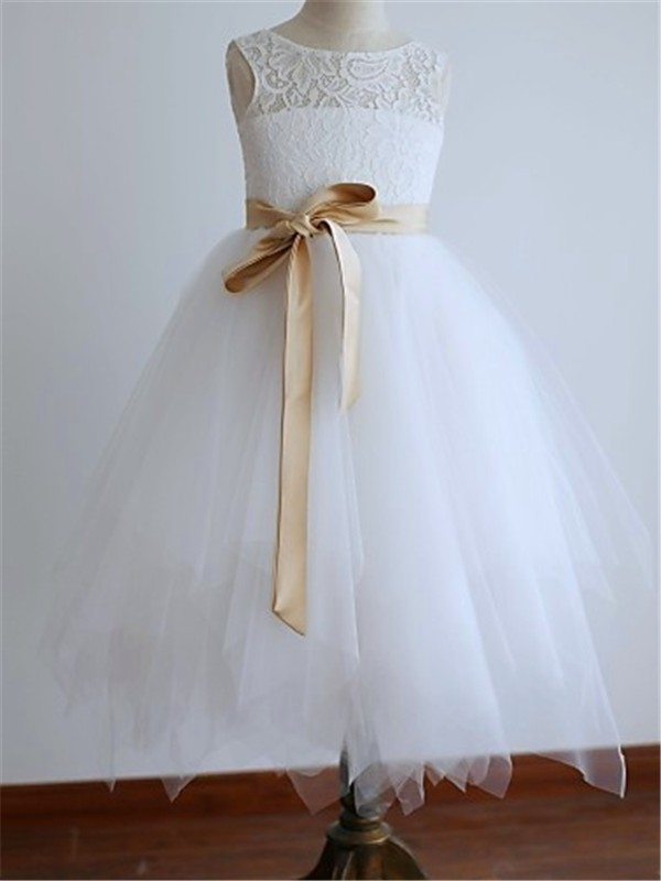 A-line Scoop Sleeveless Ankle-length Tulle Flower Girl Dress