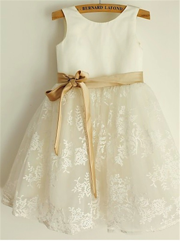 Princess Scoop Sleeveless Tea-Length Lace Flower Girl Dress