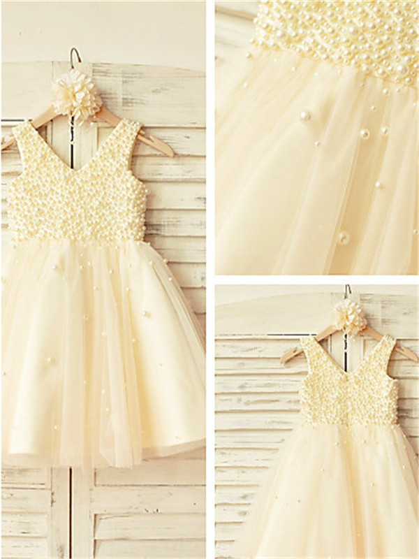 A-line V-neck Sleeveless Pearls Tea-Length Tulle Flower Girl Dress