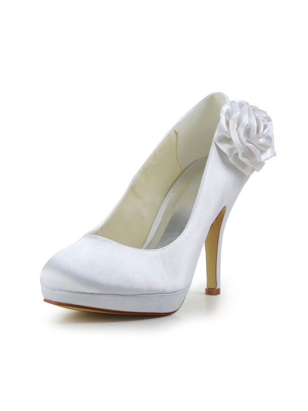 Women's Elegant Satin Stiletto Heel Pumps With Flower White Wedding Shoes