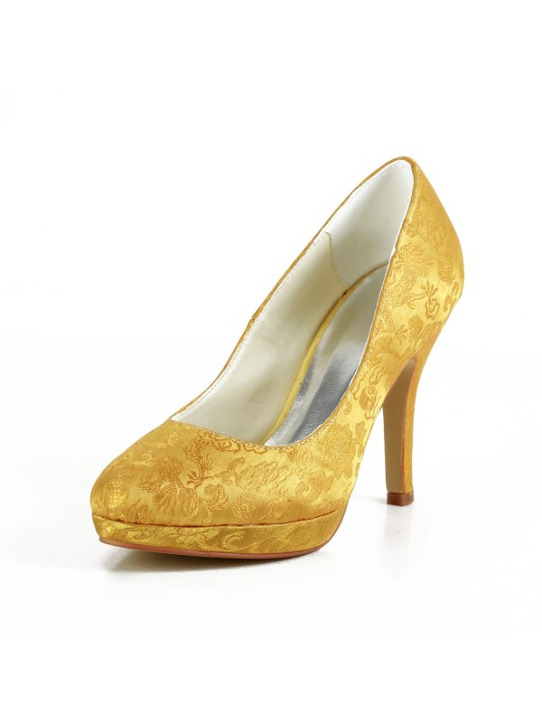 Women's Fashion Satin Stiletto Heel Closed Toe Platform Gold Wedding Shoes