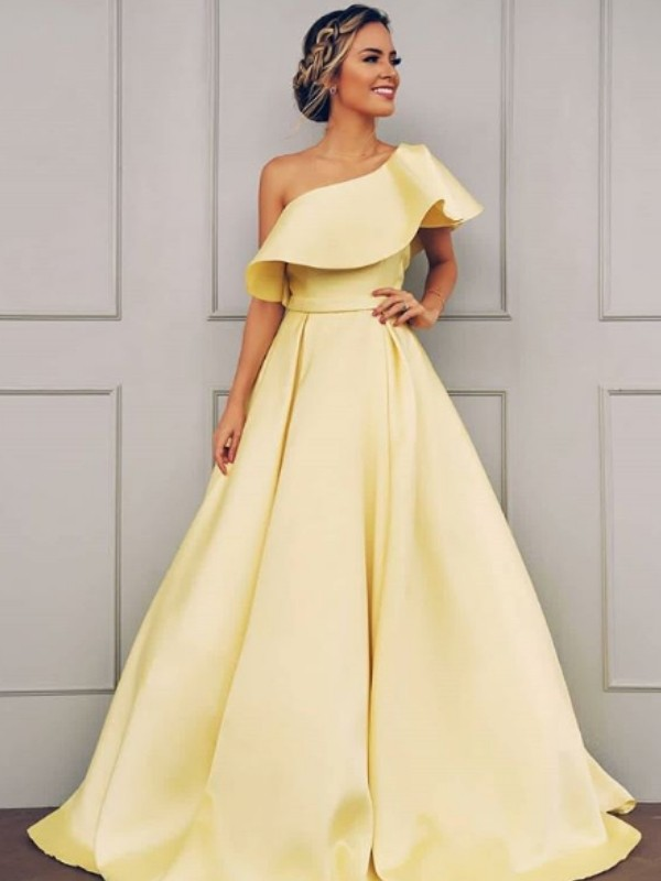 A-Line Sleeveless One-Shoulder Sweep/Brush Train Ruffles Satin Dresses