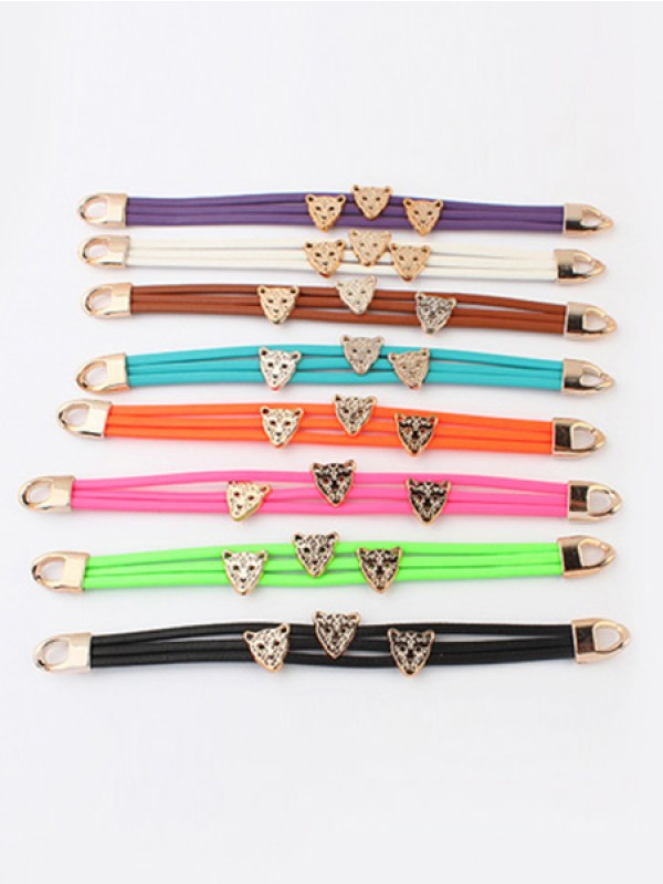 Occident Candy colors Summer All-match Leopard head Hot Sale Bracelets