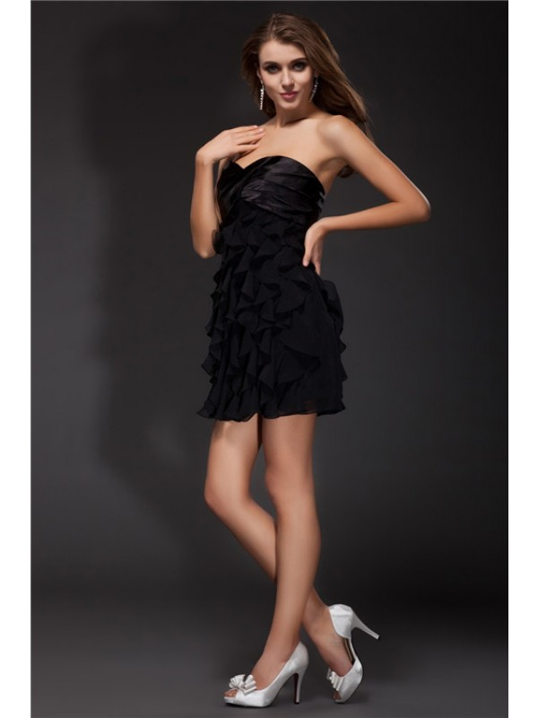 Sheath/Column Ruffles Sleeveless Short Chiffon Elastic Woven Satin Cocktail Dresses
