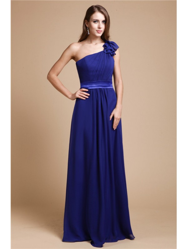 A-Line/Princess One-Shoulder Sleeveless Ruffles Long Chiffon Dresses