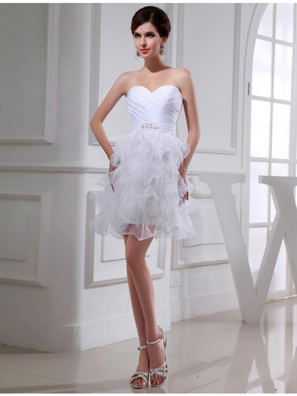 A-Line/Princess Beading Sweetheart Sleeveless Short Satin Organza Cocktail Dresses