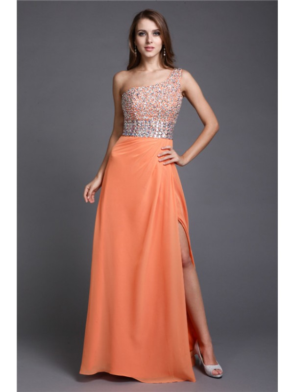 Sheath/Column One Shoulder Long Beading Sleeveless Chiffon Dresses