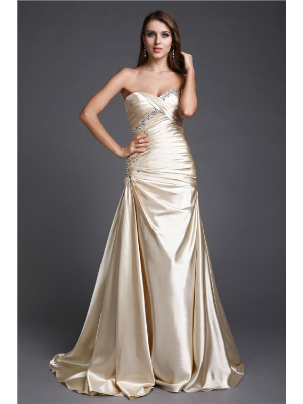 A-Line/Princess Sweetheart Beading Sleeveless Long Elastic Woven Satin Dresses