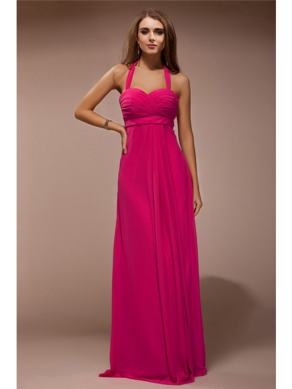 Sheath/Column Halter Sleeveless Long Ruffles Chiffon Bridesmaid Dresses