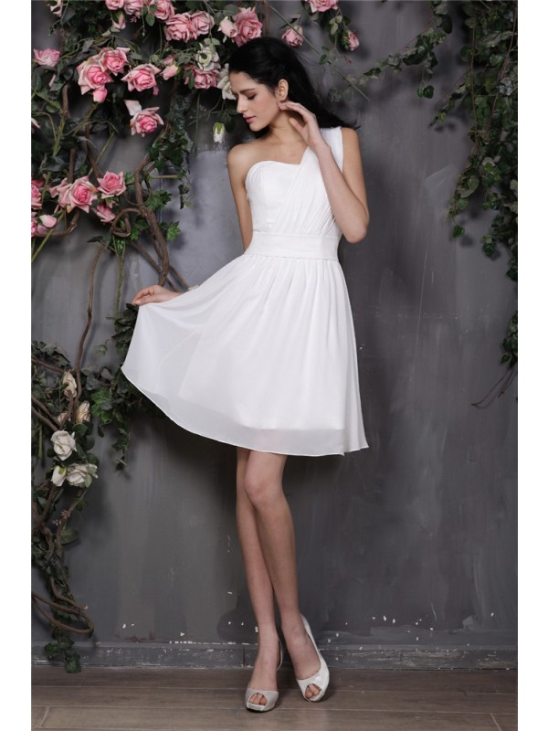 A-Line/Princess One-Shoulder Sleeveless Pleats Short Chiffon Bridesmaid Dresses