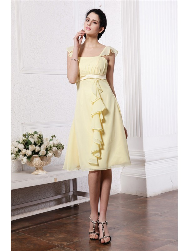 A-Line/Princess Straps Sleeveless Ruffles Ruched Short Chiffon Bridesmaid Dresses