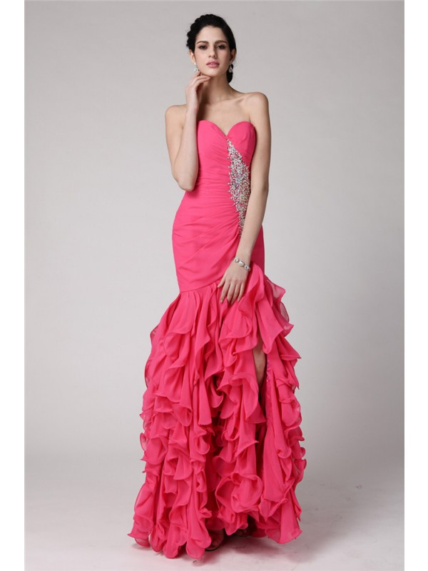 Trumpet/Mermaid Sweetheart Sleeveless Beading Ruffles Long Chiffon Dresses