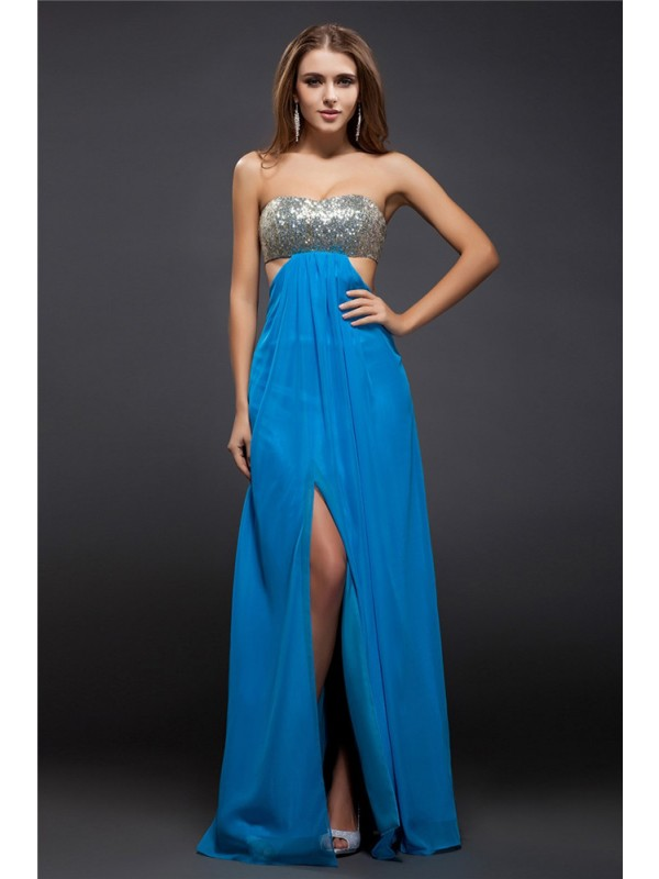 Sheath/Column Strapless Sequin Lace Sleeveless Long Chiffon Dresses