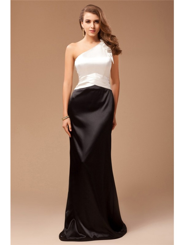 Sheath/Column One-Shoulder Ruffles Sleeveless Long Satin Bridesmaid Dresses