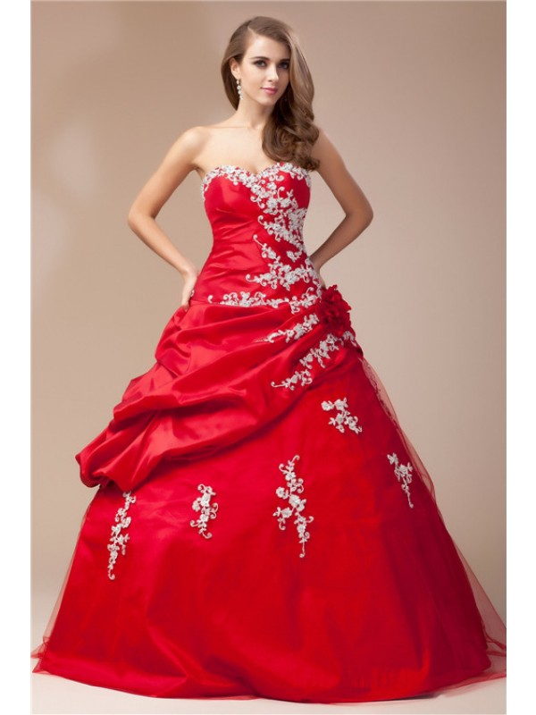 Ball Gown Sweetheart Sleeveless Beading Lace Long Taffeta Net Dresses