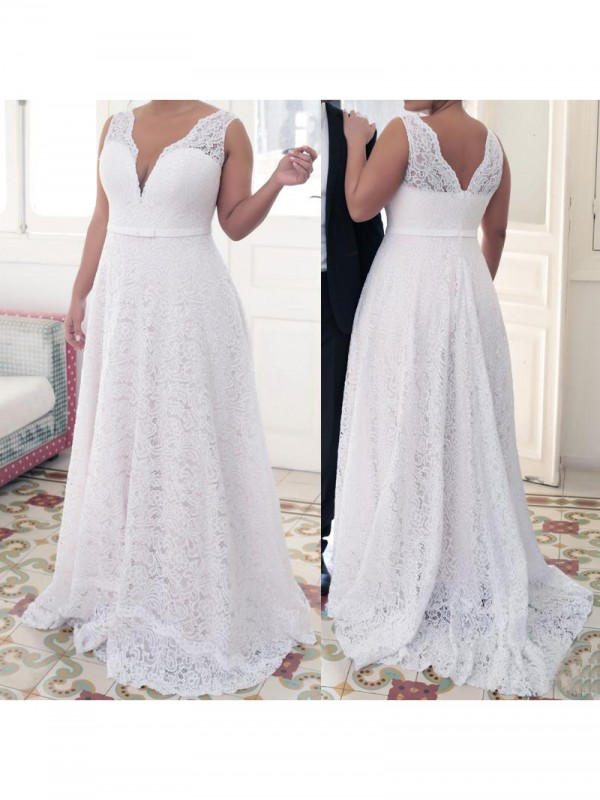 A-Line V-neck Sleeveless Lace Sweep/Brush Train Lace Plus Size Dresses