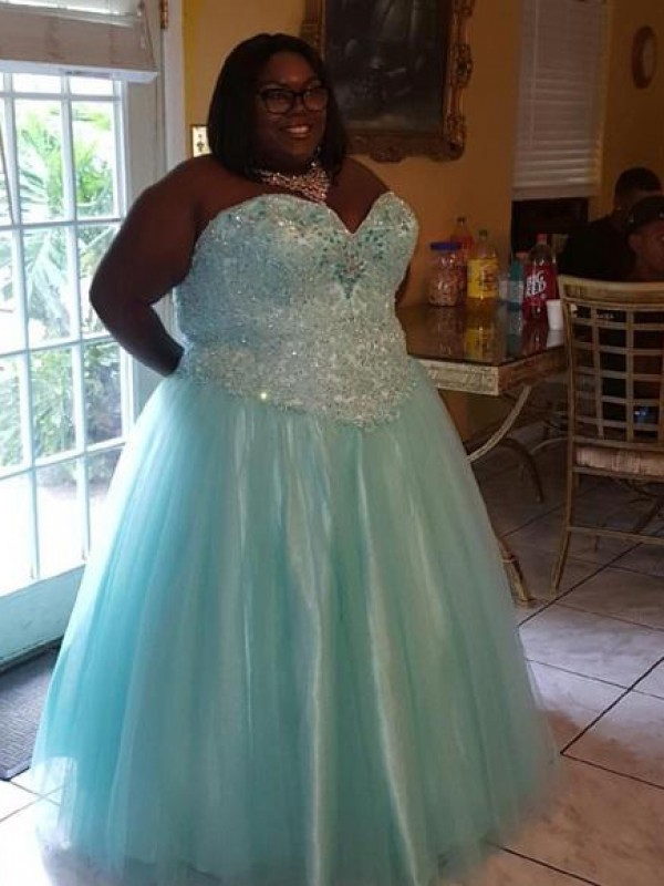 Ball Gown Sweetheart Sleeveless Beading Floor-Length Organza Plus Size Dresses