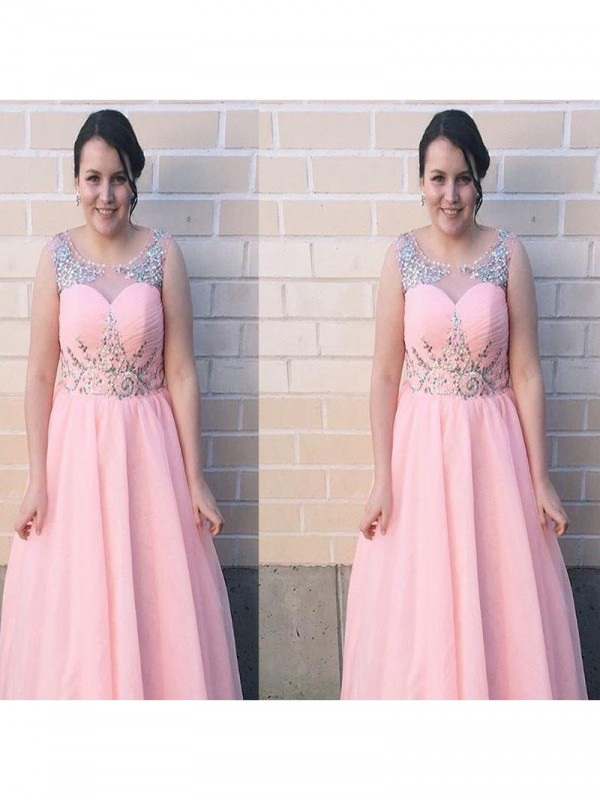 A-Line Sheer Neck Sleeveless Beading Floor-Length Chiffon Plus Size Dresses