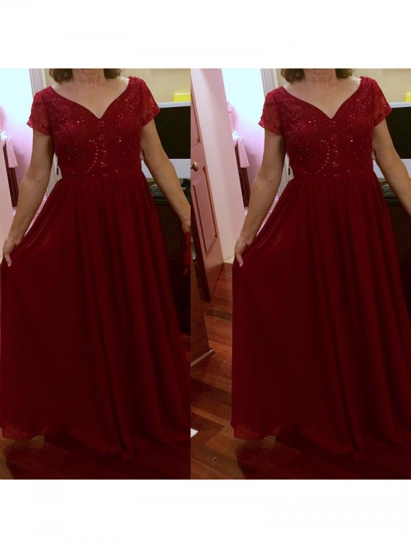 A-Line V-neck Short Sleeves Beading Floor-Length Chiffon Mother Of The Bride Dresses