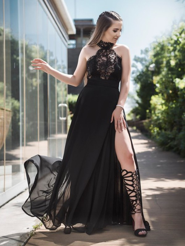 A-Line Sleeveless Halter Floor-Length Lace Tulle Dresses