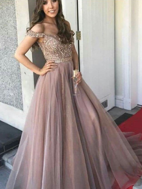 A-Line Sleeveless Off-the-Shoulder Floor-Length Tulle Beading Dresses
